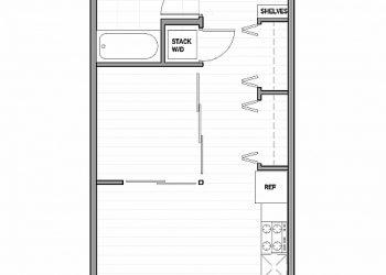 Open 1 Bedroom, 1 Bathroom 470 sq ft.