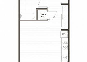 Studio, 1 Bathroom 395 sq ft.