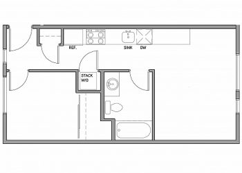 1 bedroom, 1 bathroom 465 sq ft.